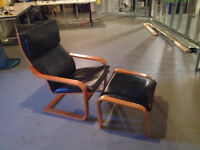Poang Ikea Leather Chair & foot stool
