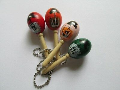 12 MARACA KEYCHAINS wood key chains Cinco de Mayo Mexican Spanish maracas favors