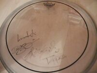 THRICE - AUTOGRAPHED DRUMHEAD + FRAMED POSTER