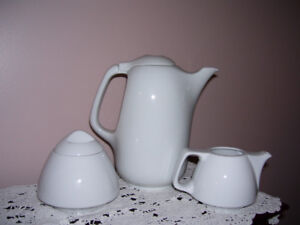 White Porcelain Coffee Pot, Creamer and Sugar
