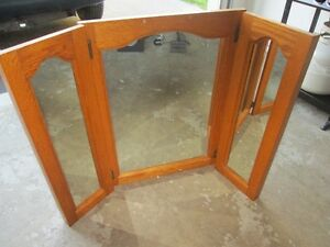 mirror- oak finish wood
