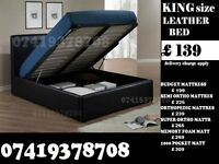 King SIZE LEATHER STORAGE BED FRAME