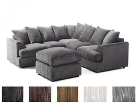 2 YEARS WARRANTY - BRAND NEW LIVERPOOL CORDED FABRIC CORNER SOFA SET - DUAL ARMRESTS - 6 COLOURS