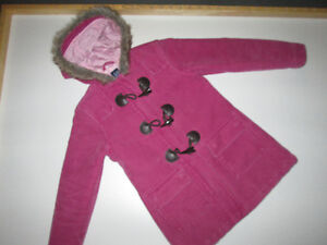 Gap Pink toggle coat with faux fur lined hood, fall weight sz M