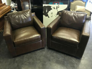 2X CRATE & BARREL, NEAR NEW LEATHER SWIVEL ARM CHAIRS