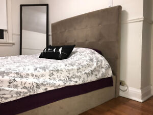 Queen Bed Frame with Tufted Headboard