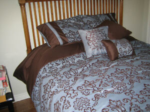 Queen size comforter, bed skirt, pillow shams, small pillows