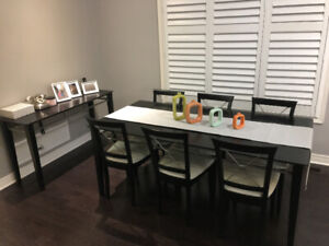 Modern Dining set 6 chairs and console table