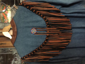 Gorgeous DENIM LEATHER COAT WITH LOTS OF BEADING AND FRINGES Windsor Region Ontario image 2