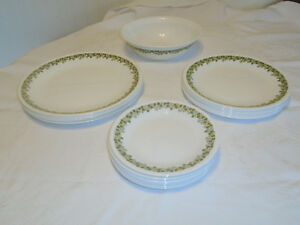 22 Piece Lot Corelle Spring Blossom Green Dinnerware
