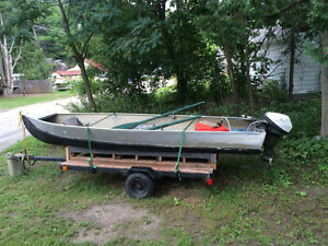 14' Aluminum Boat with 9.9 Johnson and Boat/Utility Trailer