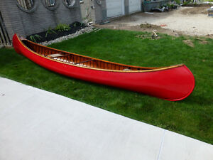 Classic Red Peterborough 16' Cedar Strip Canvas Canoe - Otonobee