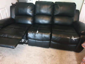Leather look recliner sofa - 3 seater FREE