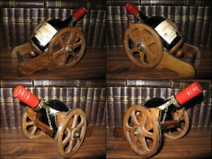 1980's Collectable Unopened Courvoisier + Wood-Brass Cannon