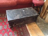 Antique metal trunk / coffee table