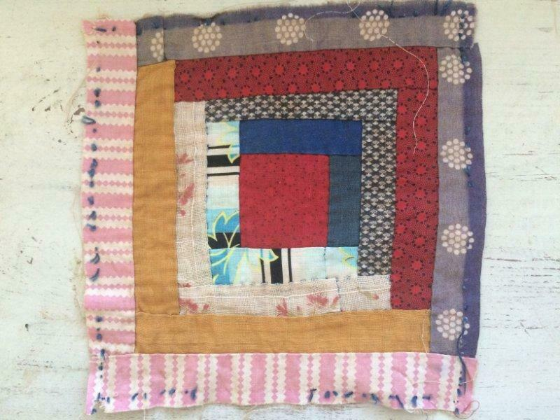 "~Back In Time Textiles~Antique 1880 ""Log Cabin"" cutter quilt piece"