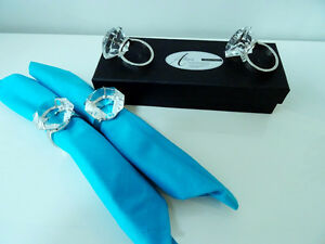 diamonds GIRL'S BEST FRIEND glass crystal napkin ring holders x4 Kitchener / Waterloo Kitchener Area image 2