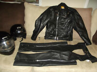 Motorcycle jacket, chaps and helmuts