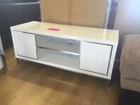 White and chrome flat screen tv unit---very good condition---delivery available!!!
