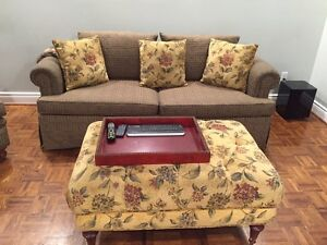 Custom upholstered couch, ottoman and chair