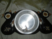 wooden carved KITTY water/food bowl