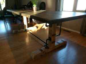 Rustic industrial dining table