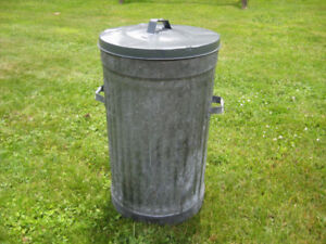 Galvanized garbage can