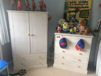 Childs wardrobe and drawers