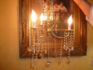 """Splendide lustre chndlier17""""/d 3x, vtg Louis XVI bronze, cristal"""