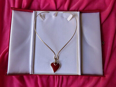 Red Jasper Heart Necklace - VTG.MEXICO RED JASPER HEART Within The HEART Sterling Silver 925 CHOKER NECKLACE
