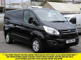 2014 FORD TRANSIT CUSTOM 270/125 LIMITED SWB IN BLACK WITH ONLY 45.000 MILES,AIR