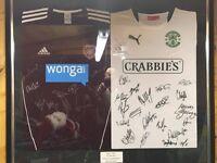 Hibs, Hearts signed shirts ( Hibs 2 - hearts 1 ) 12/05/13