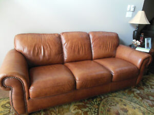 Natuzzi leather couch, chair and ottoman