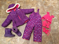 Girls Snowsuit Carter's 2T and accessories