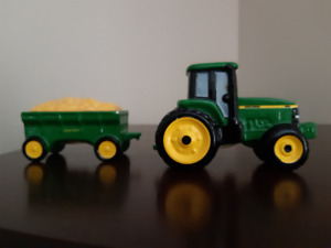 """John Deere"" tractor and trailer , salt and pepper shakers"