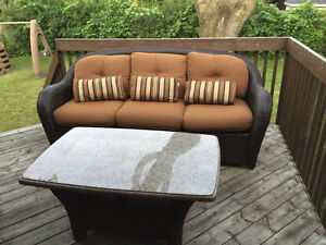 Wicker Patio Couches and Table