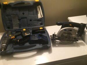 18V drill and cordless saw