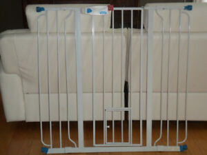 Barrière d'escalier en métal avec porte