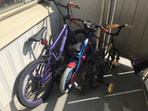 $150 for 3 used Kids bikes
