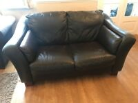 FREE Dark brown leather 2 seater sofa and footstool