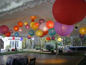 Assorted colourful paper lanterns wedding decor - REDUCED PRICE