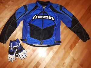 Icon motorcycle jacket , boots and gloves