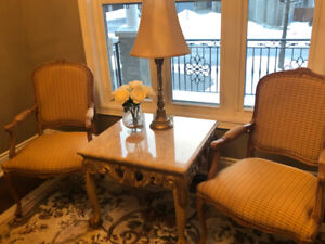 Custom chairs and end table