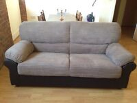 3 seater cuddle sofa settee & armchair jumbo cord soft cream brown mink leather as new fabric suite