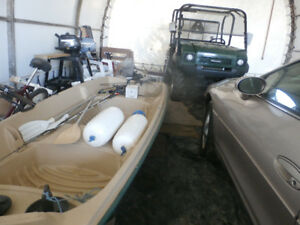 Str. Fiber glass Double Wall Jon Boat with 2.6 hp 4 stroke motor