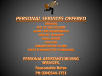 Personal Assistant/Driving Services