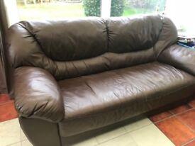 Free choc brown leather sofa