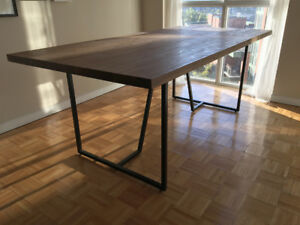 Modern Industrial Exotic Hardwood Dining Table