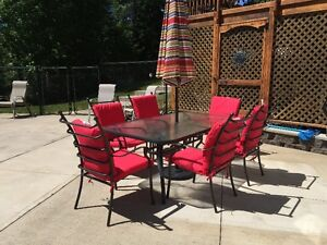 Reduced **6 Aluminum Patio Chairs with New Red Cushions**
