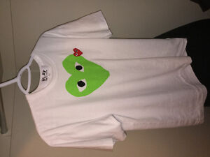 Lime Green Heart White Shirt Comme des Garcons